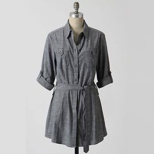 Anthropologie Chambray Denim Belted Tunic by Fei